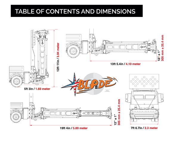 Tabel of contents and dimensions BLADE TMA